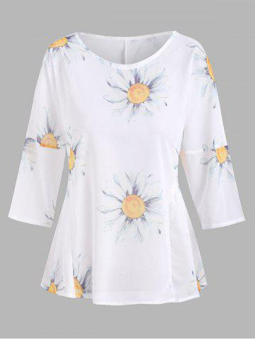 Sunflower Print Ruched Waist Chiffon Blouse