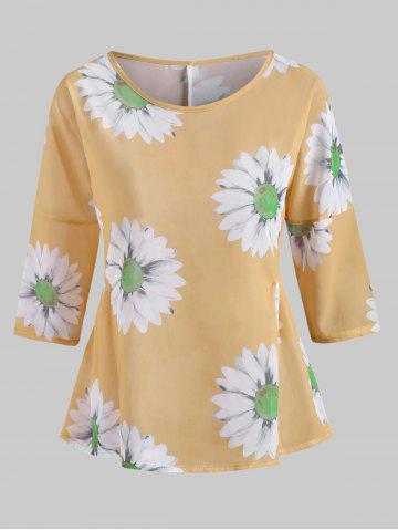 Blouse en Mousseline à Imprimé Tournesol - YELLOW - 3XL