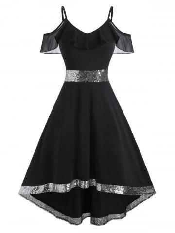 Ruffle Sequins Cold Shoulder High Low Dress - BLACK - XXXL