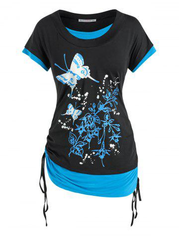 Plus Size Butterfly Floral Print Faux Twinset Cinched Tee - BLACK - L