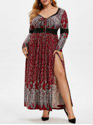 Plus Size Lace Insert Lace-up Slit Maxi Dress -