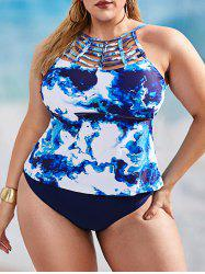 Plus Size Ladder Cutout Sea Wave Print Tankini Swimwear -