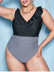 Ruffles Ruched Stripes Panel Plus Size One-piece Swimsuit -