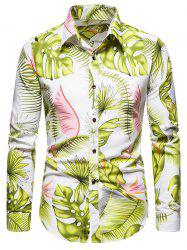 Long Sleeve Tropical Leaves Print Shirt -