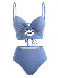 Ribbed Twist Cutout Underwire Tankini Swimwear -