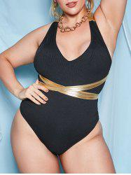 Criss Cross Ribbed Matallic Plus Size One-piece Swimsuit -