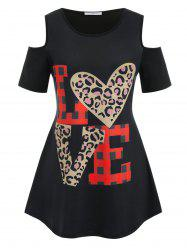 Plus Size LOVE Graphic Cold Shoulder Tee -