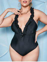Plus Size Frilled Open Back Plunge One-piece Swimsuit -
