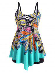 Plus Size Leaf Print Lattice Boyshorts Tankini Swimwear -