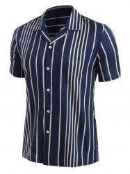 Button Up Contrast Stripes Shirt -