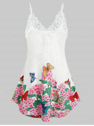 Plus Size Embroidered Butterfly Printed Tank Top -