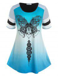 Plus Size Ombre Color Butterfly Print Tee -