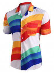 Button Up Rainbow Print Shirt -
