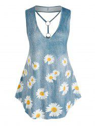 Plus Size Daisy Print Plunging Neckline O Ring Tank Top -