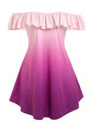 Plus Size Gradient Flounce Off Shoulder T Shirt -