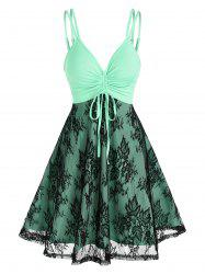 Plunge Cinched Lace Insert Dress -