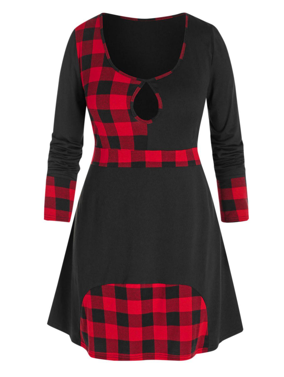 Discount Plus Size Plaid Keyhole T Shirt