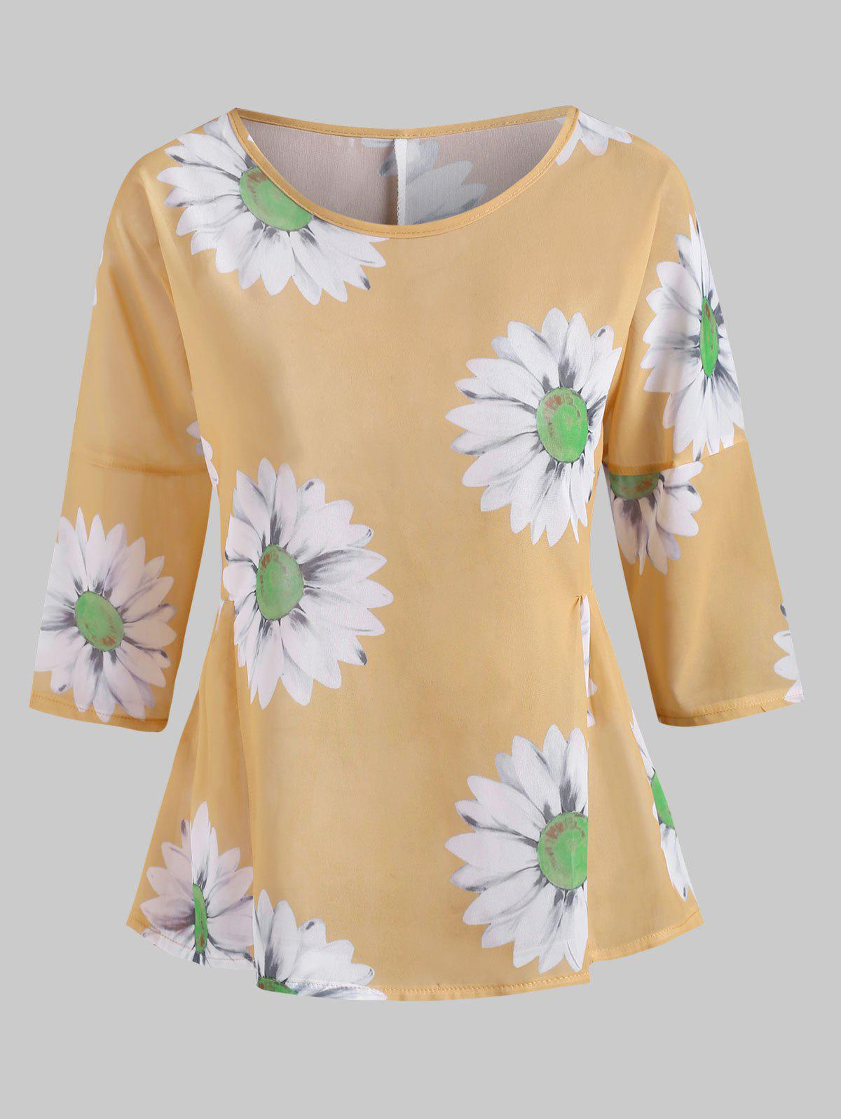 Outfit Sunflower Print Ruched Waist Chiffon Blouse