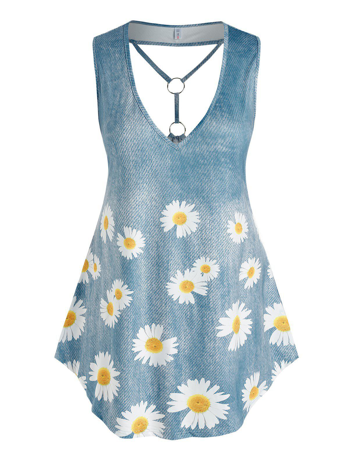 Latest Plus Size Daisy Print Plunging Neckline O Ring Tank Top