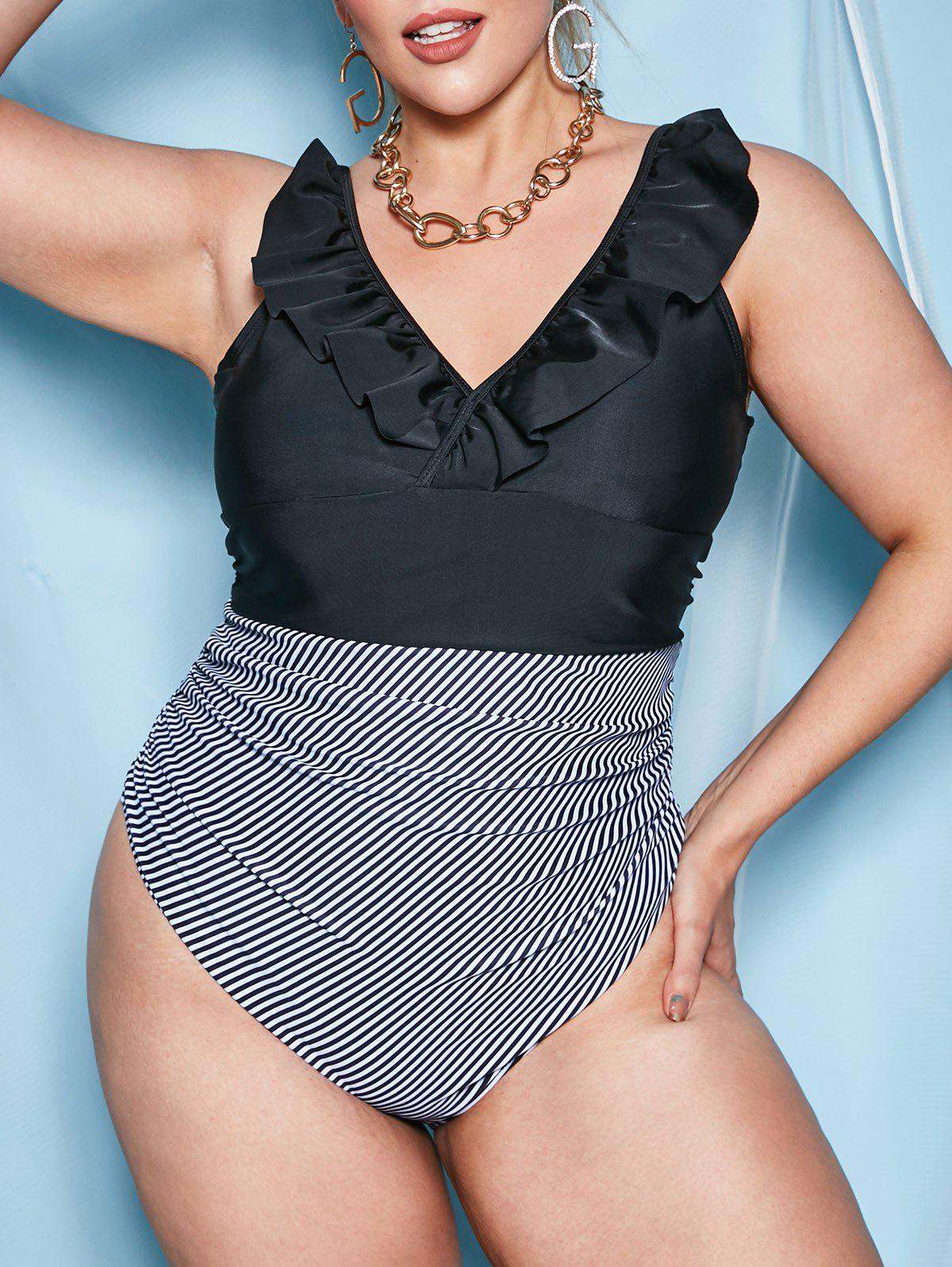 Best Ruffles Ruched Stripes Panel Plus Size One-piece Swimsuit