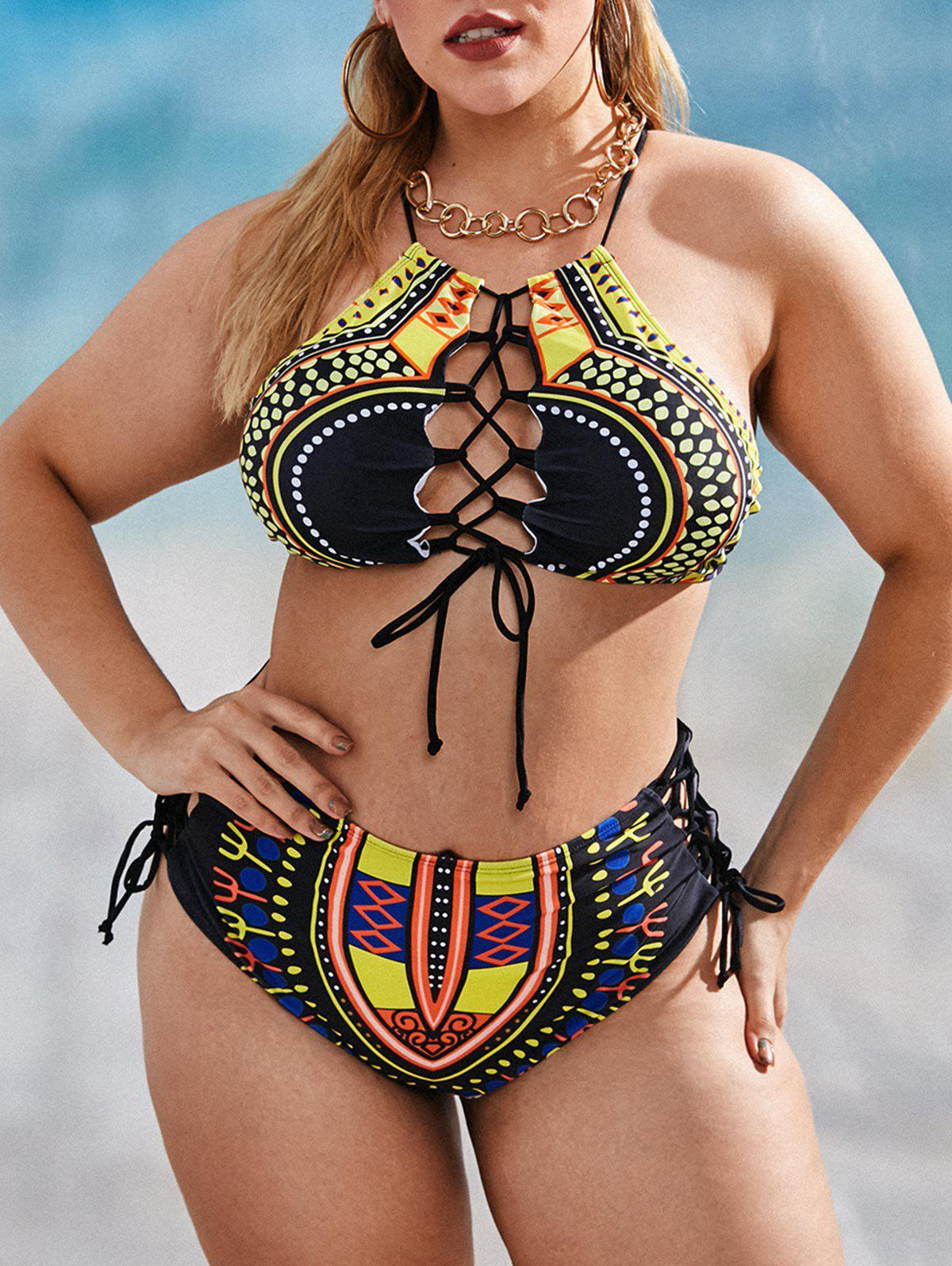 Plus Size Aztec Pattern Lace-up Cross High Rise Tankini Swimwear