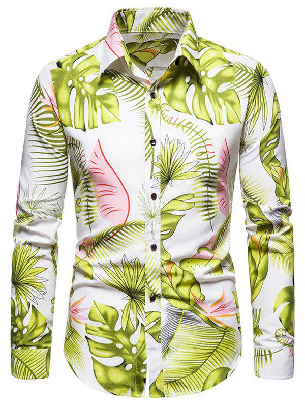 New Long Sleeve Tropical Leaves Print Shirt