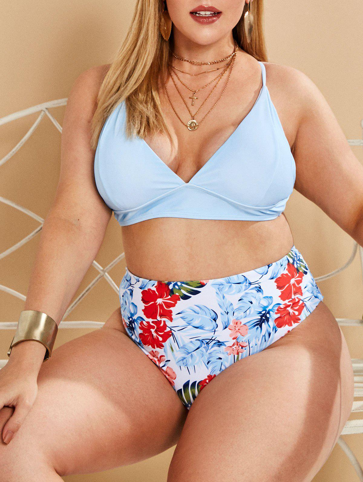 Plus Size Tropical Print High Waisted Bikini Swimwear