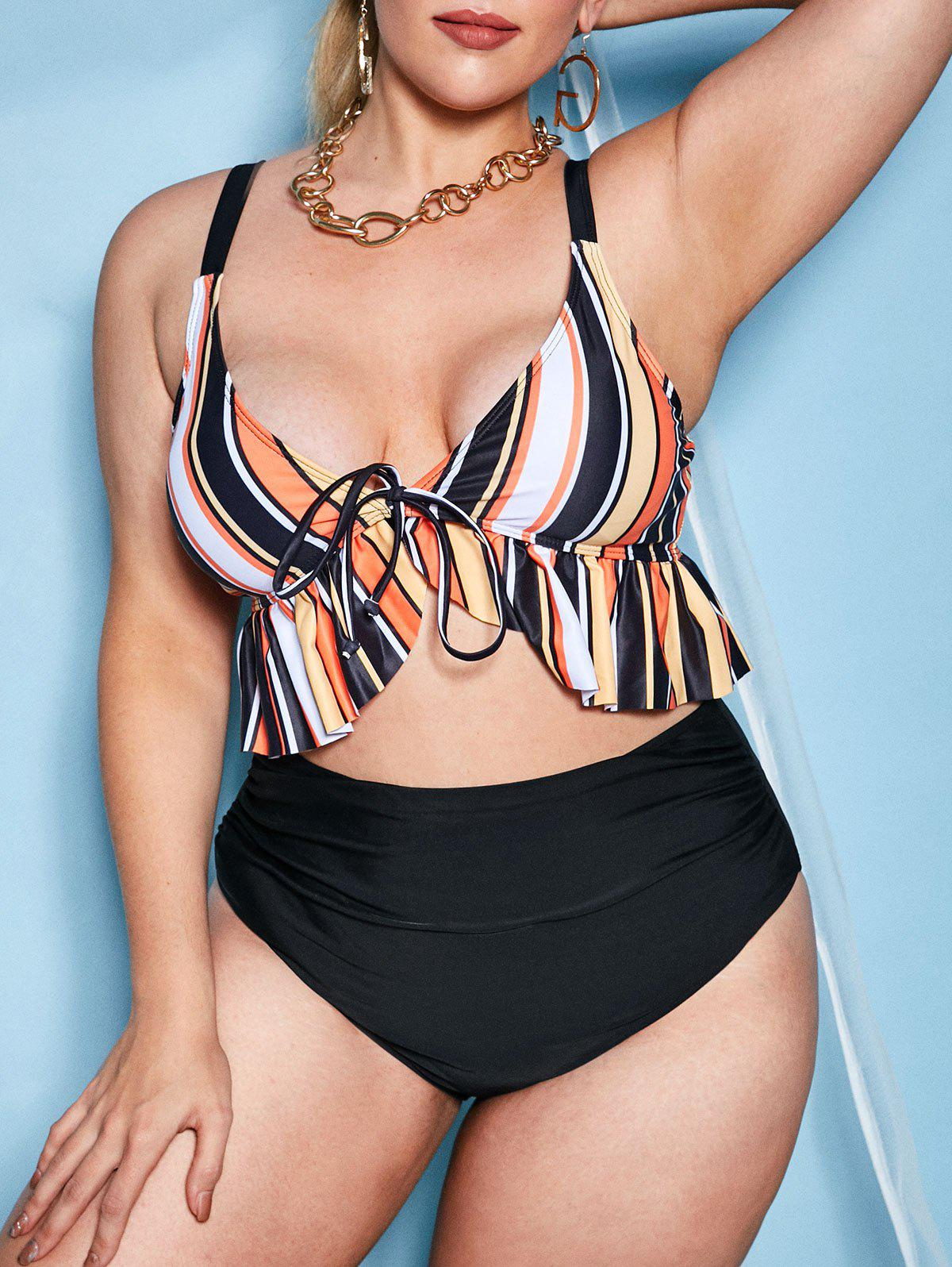 Affordable Plus Size Colorful Striped Ruffle Ruched Bikini Swimwear
