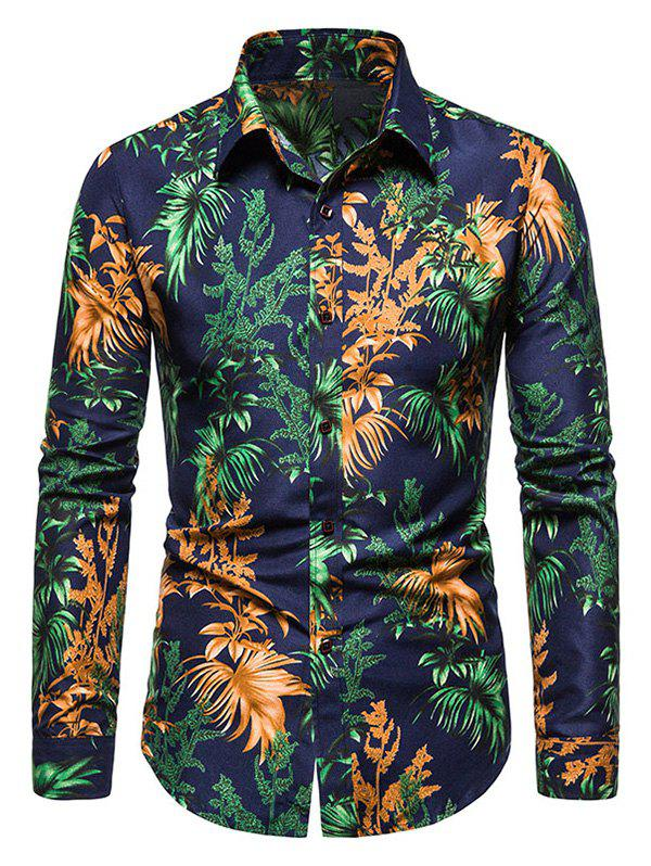 Outfits Tropical Leaves Print Long Sleeve Shirt