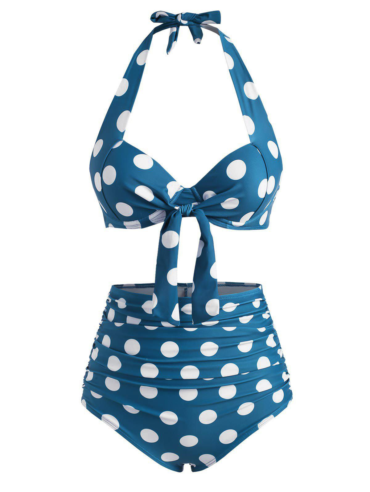 Online Halter Polka Dot Underwire Ruched High Waist Bikini Swimwear