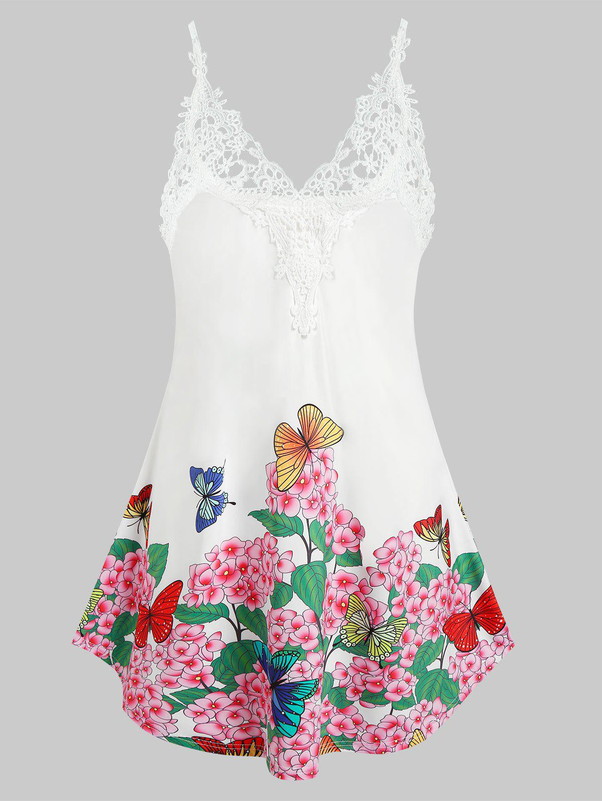 Trendy Plus Size Embroidered Butterfly Printed Tank Top