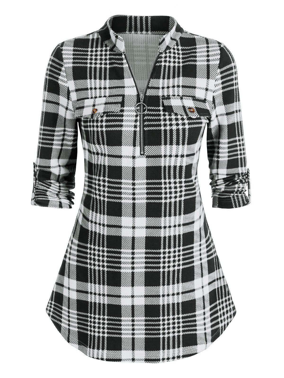 Store Plaid Print Half Zip Cuffed Sleeve Blouse