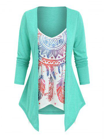 Faux Two Pieces Feather Print Top
