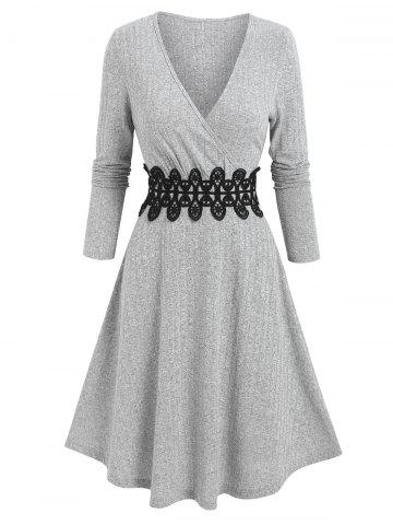 Ribbed Applique A Line Wrap Knitted Dress