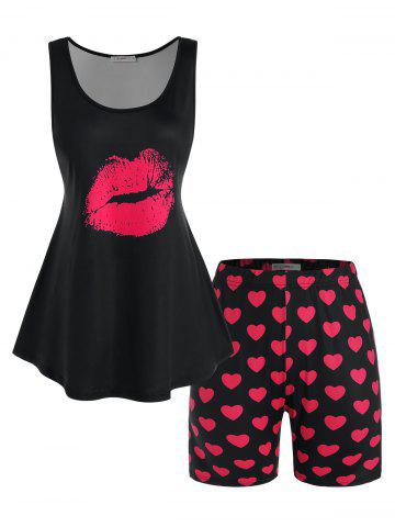 Plus Size Lip Print Tank Top and Heart Print Shorts Pajamas Set - BLACK - 5X
