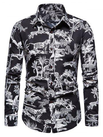 Jungle Animals Print Long Sleeve Shirt - BLACK - 3XL