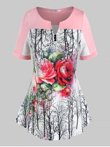 Plus Size Floral Tree Print Swing Tee