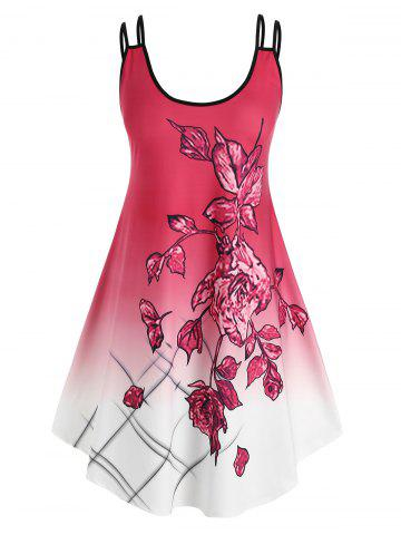 Plus Size Ombre Flower Dual Strap Backless Casual Dress
