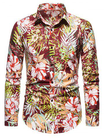 Tropical Flower Print Long Sleeve Shirt - RED - 2XL