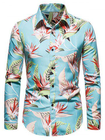 Flower Leaves Print Long Sleeve Shirt - ROBIN EGG BLUE - M