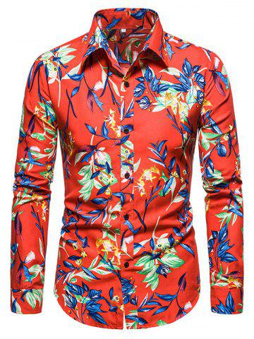 Leaves Flower Print Long Sleeve Shirt - RED - 2XL