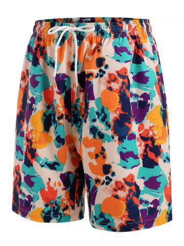 Shorts de Playa con Cordón con Estampado de Colores - MULTI - 3XL