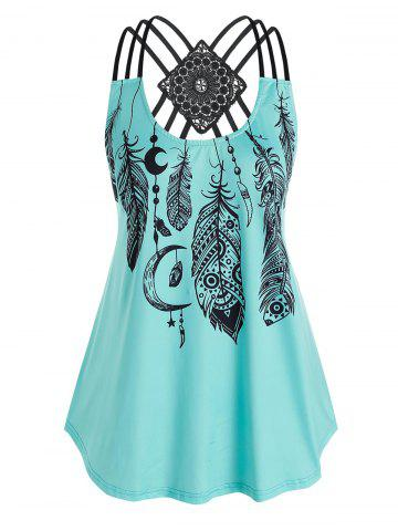 Plus Size Strappy Feather Print Tank Top - BLUE - L