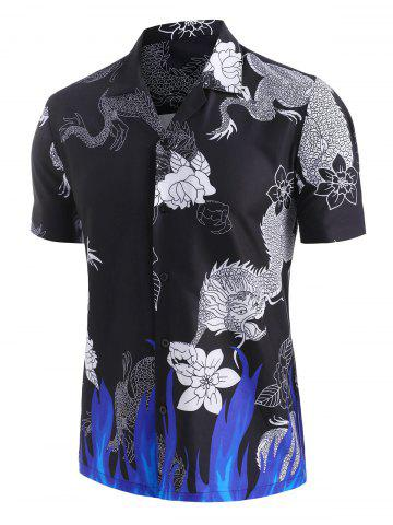 Dragon Flower Flame Print Oriental Shirt - BLACK - 3XL