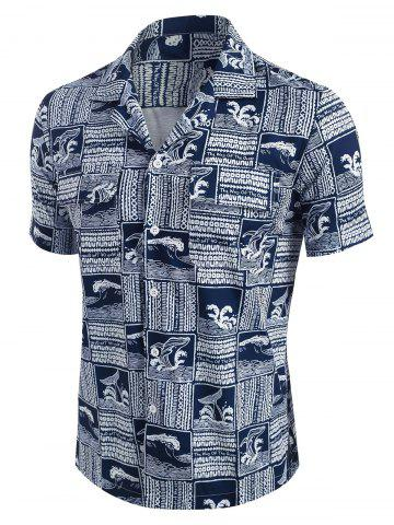 The Way Of The Ocean Graphic Print Shirt - DEEP BLUE - S