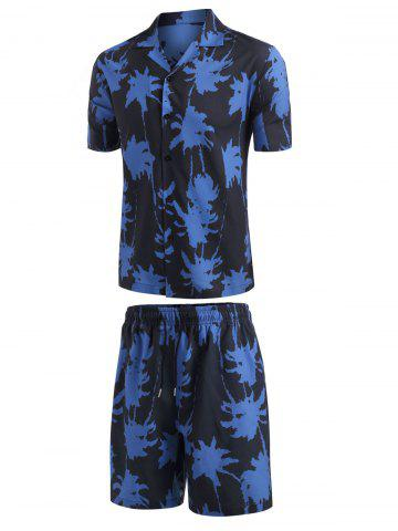 Palm Tree Paint Print Shirt And Shorts Set - BLUE - 3XL