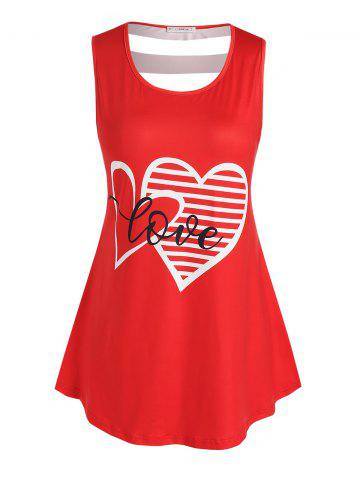 Plus Size Graphic Print Cut Out Tank Top - RED - 5X