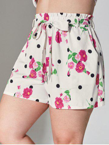 Plus Size Floral Print Belted Paperbag Shorts - WHITE - 5X