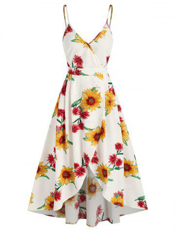 Sunflower Print High Low Surplice Dress