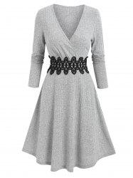 Ribbed Applique A Line Wrap Knitted Dress -